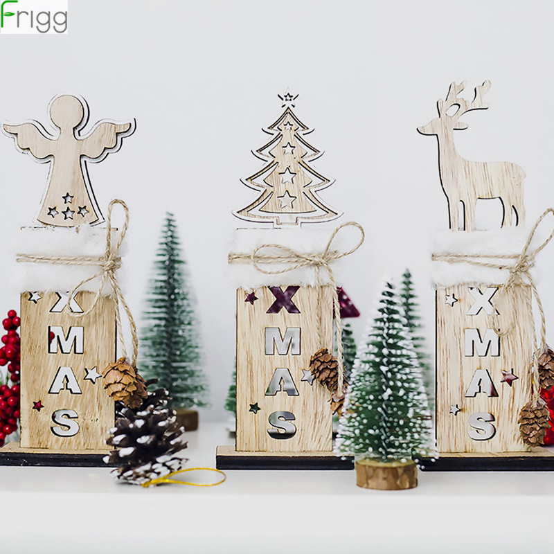 Wooden Letter Elk Angel Christmas Tree Pendant Decoration Decorations For Home Merry New Year