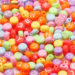 Wholesale Colorful Mixed Letter Acrylic Beads Round Flat Alphabet Loose Beads For Jewelry Making Handmade Diy Bracelet Necklace