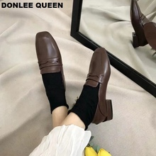 Flats Casual Shoes Women Oxford Shoes Slip On Vintage British Style Oxford Shoes Thick Heel New Autumn Footwear zapatos de mujer