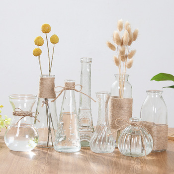 Creative Crystal Glass Vase Flower Arrangement Hydroponic Ornament European Simple Home Office Accessories Desktop Decoration 1