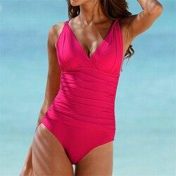 Сексуальный купальный костюм большого размера с v-образным вырезом, женская пляжная одежда с открытой спиной, женский купальник 2019, цельный ... 5
