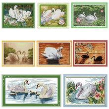 Набор для вышивки крестиком joy sunday Лебеди плавательные узоры