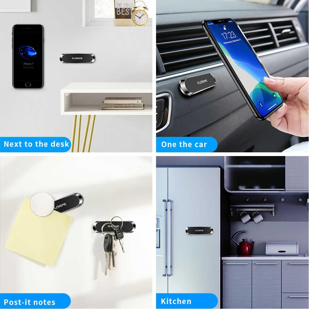 FLOVEME Mini şerit şekli manyetik araç telefonu tutucu standı telefon için araba mıknatıs GPS araç tutucu pano Suporte Celular standı