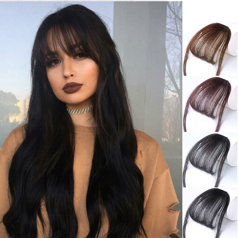 HOUYAN 6inch Fake Bangs Clip Hairpiece Black Brown Blonde Synthetic Bangs Hair Extensions For Fashion Adult Women