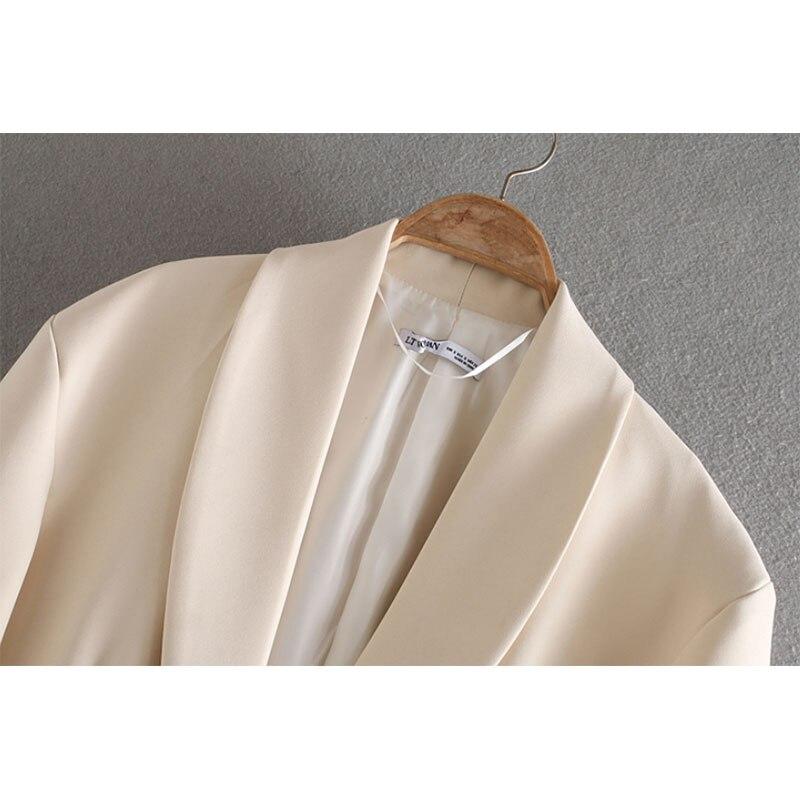 2020 england office lady vintage oversize beige blazer feminino za blazer women blazer mujer  women blazers and jackets top