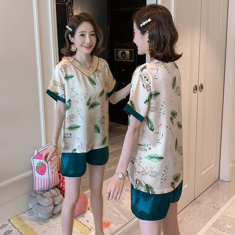 8827 # Pajamas Women's Summer Viscose Thin Sexy Cute Real Silk Short Sleeve Two-Piece Set Summer Home Wear