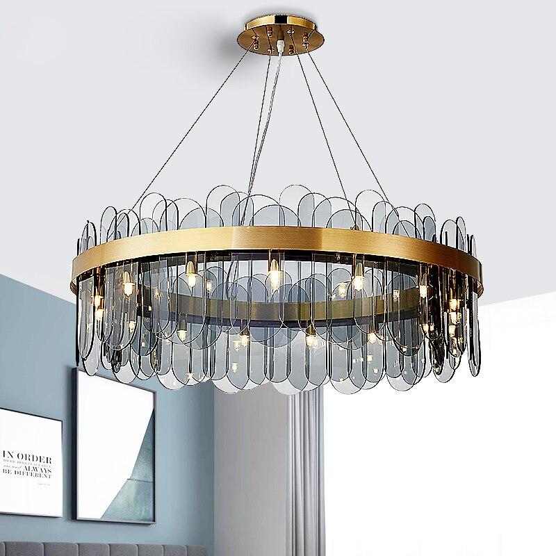 Modern Gold Led Pendant Lights Glass Led Pendant Chandeliers Lighting Living Dining Room Decor Hangi