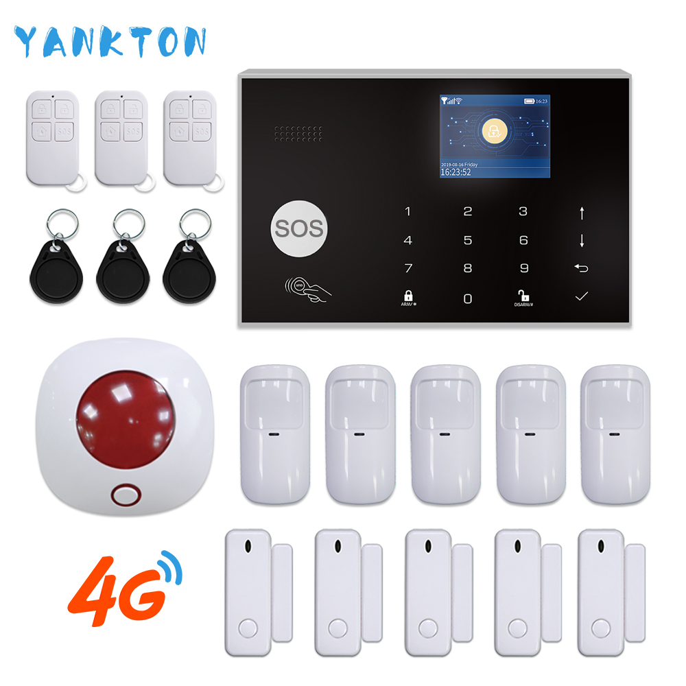 Switchable 11 Languages Tuya Wireless Home Security 3G&4G WiFi Alarm System 433MHz RFID Card Arm Disarm APP Remote Control