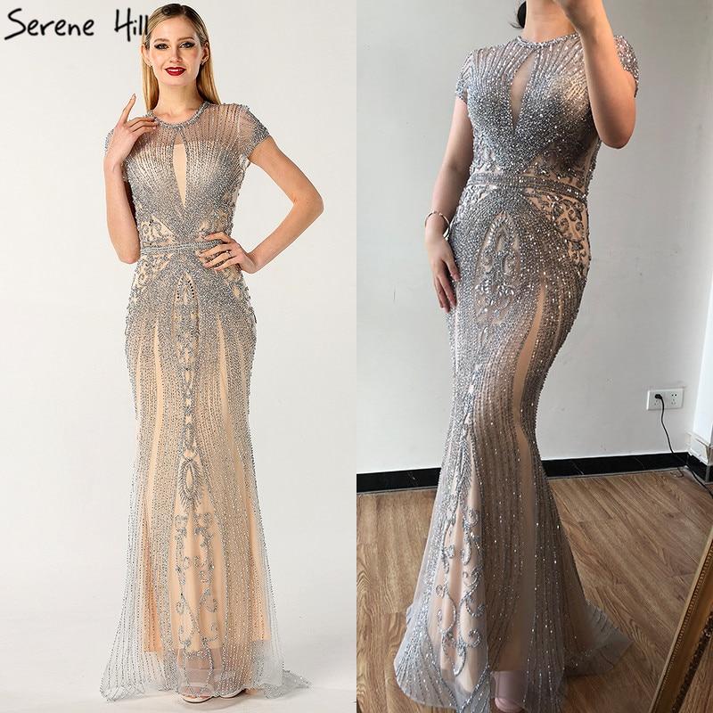 Дубай темно-синий цвет без рукавов элитное вечернее платье с круглым вырезом Diamond сексуальное вечернее платье Serene Hill LA60742