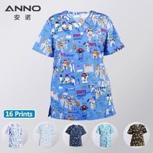 Anno hospital equipe esfrega uniforme de enfermagem superior para o sexo masculino feminino dental clínica suprimentos enfermeira uniformes das mulheres camisa