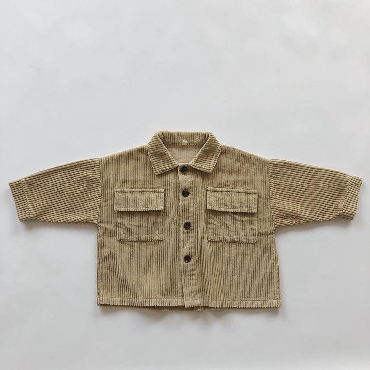 Kids Tops Coat Long Sleeve 2021 New Autumn Simplicty Corduroy Girls Coat Baby Jacket Boys Jackets Toddler Girl Winter Clothes 3