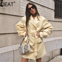 DEAT 2020 new autumn and winter notched double breasted light yellow pocket spliced full sleeves waist belt suit Blazer WN36207