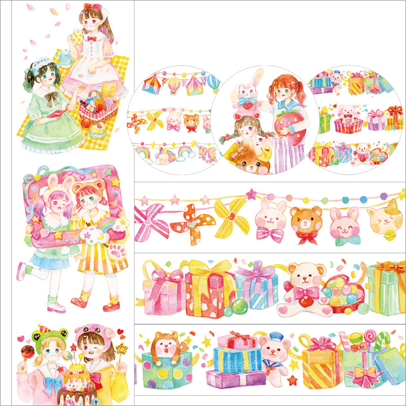 WOKO Cute Young Energetic Girl Washi Tape Gift Box Flags Adhesive Tape Decoration Scrapbooking Planner Masking Tape Stationery