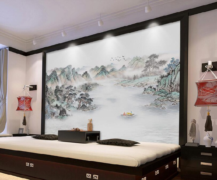TV Wall Wallpaper Chinese Style Love For Nature Non-woven Wallpaper Mural Living Room Sofa Library Wall Cloth