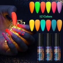 12/1 шт. неоновый светящийся матовый Гель-лак для ногтей 6 мл флуоресцентный зеленый желтый цвет отмачиваемый УФ-Гель-лак для ногтей гель для д...