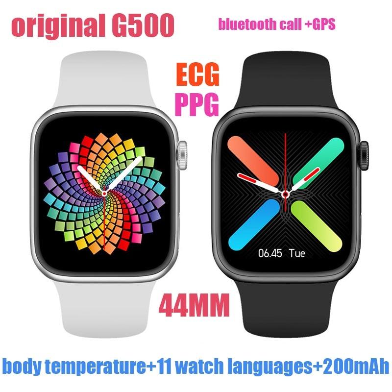 Оригинальные Смарт-часы G500 С GPS-трекером, 44 мм, Bluetooth, вызовы, температура тела, ЭКГ, пульсометр, PPG Смарт-часы PK iwo T500 W26