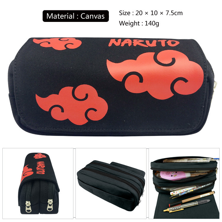 Cute Naruto Cosplay Pencil Case Large Capacity Double Layer Pencil Case Bag Creative Cartoon Zipper Bag Stationery For School