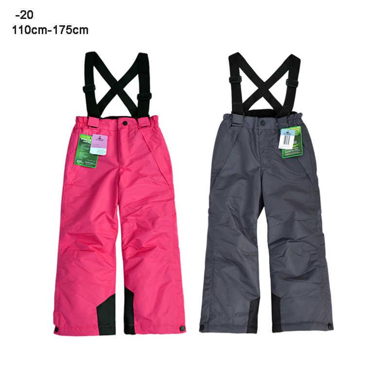Spodnie zimowe dla dzieci nastoletnia dziewczyna chłopiec kombinezony narciarskie spodnie 10 12 lat wodoodporne ciepłe ubrania sportowe na świeżym powietrzu
