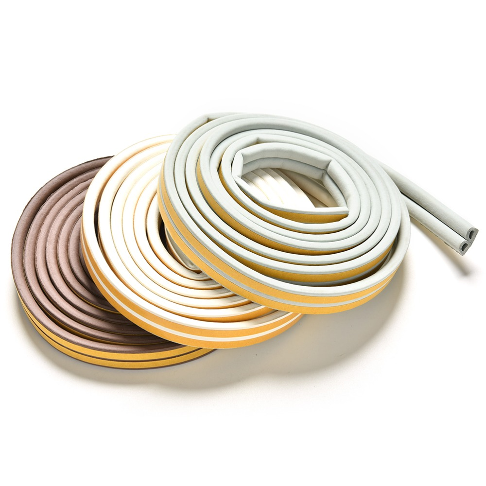 Self Adhesive E/D/I-type Doors For Windows Foam Seal Strip Soundproofing Collision Avoidance Rubber Seal Collision 3Colors 2.4m