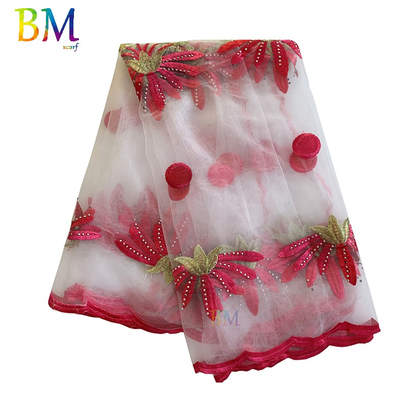 African Scarf  For Women Net Embroidery Scarf Big Embroidery Tulle Scarf For Shawls BX06
