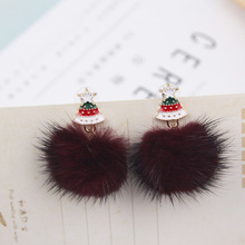 Korea Winter Christmas tree mink Pompon ball Dangle earrings lovely Cute Cartoon Santa Claus Fashion Earrings women wholesale santa claus enamel christmas dangle earrings