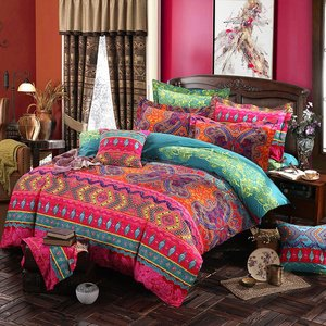 Image 5 - Folkdigital Print Beddengoed Set Dekbedovertrek Ontwerp Bed Set Bohemian Een Mini Van Beddengoed 4Pcs BE1224