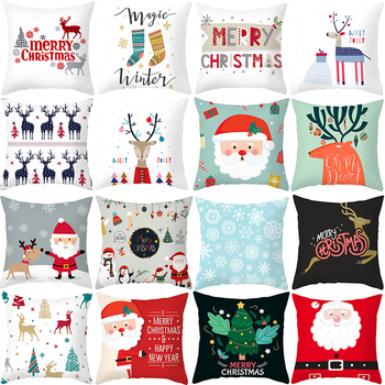 Merry Christmas Decoration For Home Reindeer Santa Claus Tree Cushion Cover Christmas Ornament 2020 Noel Xmas Gift New Year 2021 christmas xmas elk display window new year ornament simulation deer decorations reindeer simulated toy kids gift