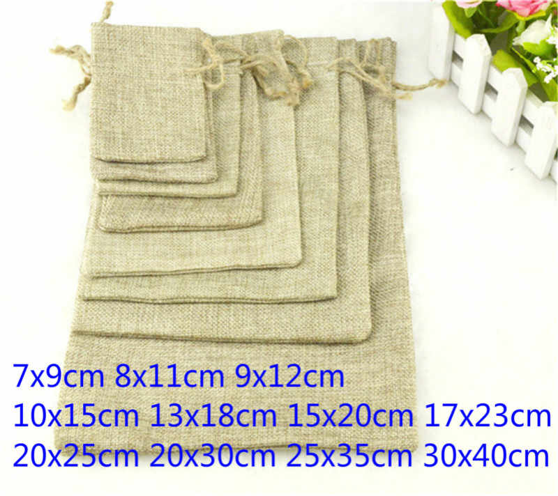 1pcs Linen Jute Drawstring Gift Bags Sacks Wedding Birthday Party Favors Drawstring Gift Christmas Bags Baby Shower Supplies