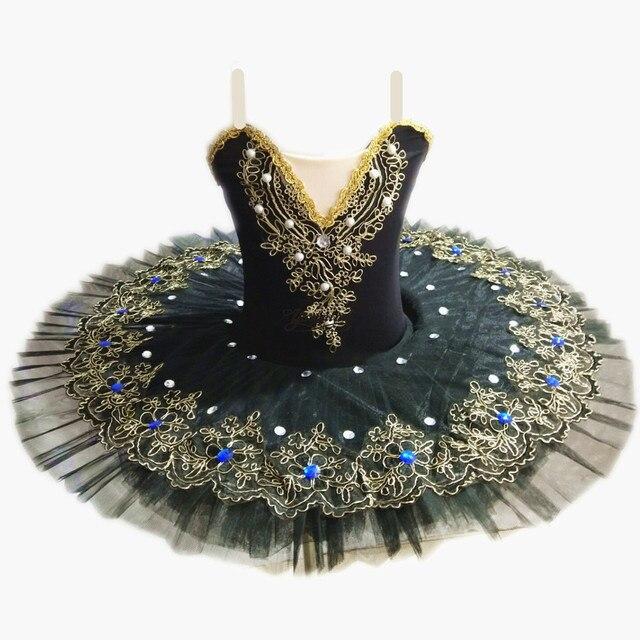 여자를위한 블랙 프로 페셔널 발레 튜 터스 어린이 백조의 호수 발레 드레스 댄스 옷 팬케이크 발레리나 피겨 스케이팅 드레스