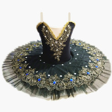Nero Professionale di Balletto Tutu Per Le Ragazze Bambino Lago Dei Cigni Balletto Vestito Da Ballo Vestiti Pancake Ballerina di Pattinaggio di Figura Vestito