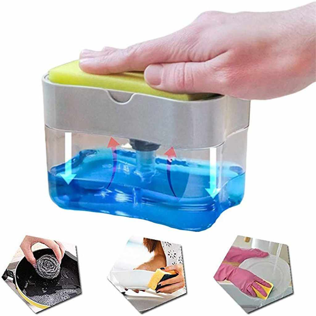 2-in-1éponge support distributeur de savon distributeur de savon et éponge Caddy 13 onces support support de rangement boîte ensemble de rangement éponge savon