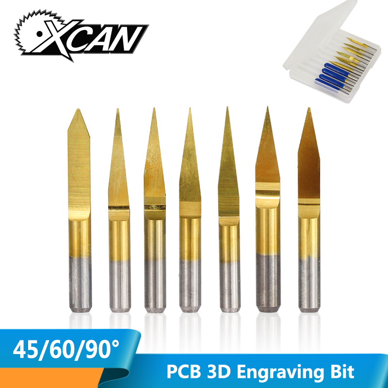 XCAN 10pcs TiN Coated 3.175mm Shank PCB Carving Bit 45 60 90Degree PCB Machine Router Bit Milling Tool V Shape Engraving Cutter
