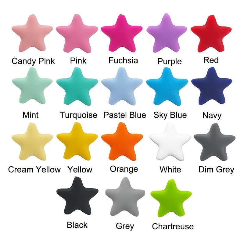 Chenkai 50 pçs estrela silicone mordedor grânulos grau alimentício diy infantil enfermagem dentição sensorial colar presente brinquedo acessórios bpa livre