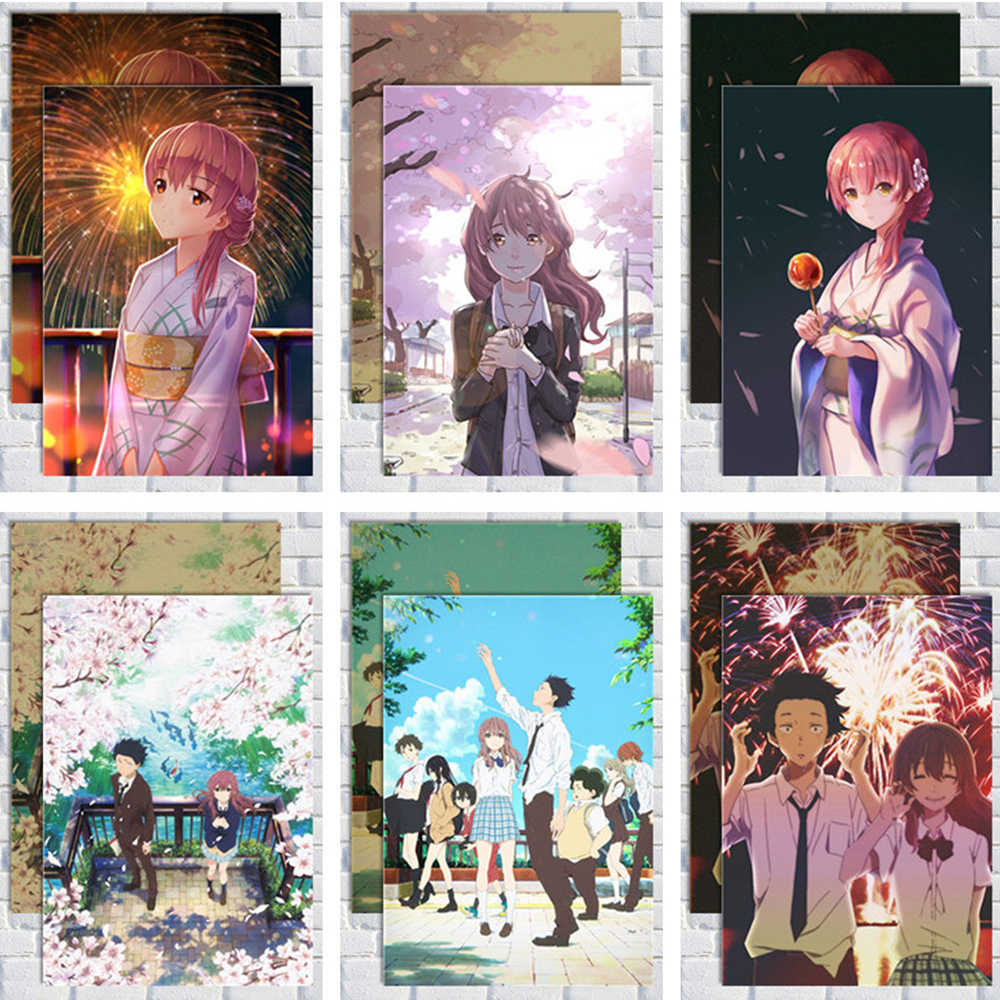 COSY MOMENT A Silent Voice Posters White Kraft Paper Japanese Anime Movie The Shape Of Voice Wall Posters And Prints QT616