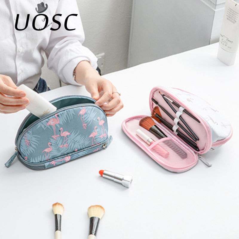 UOSC Portable Flamingo Cosmetic Bag Double Layer Travel MakeUp Pouch Bags Circular Make Up Bag Brush Organizer For Woman Pouch