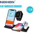 NOHON 15 Вт 4 в 1 Qi Беспроводное зарядное устройство Подставка для зарядки Apple Watch Airpods Складная Быстрая Зарядка Док-станция для iPhone 12 11 X XS XR