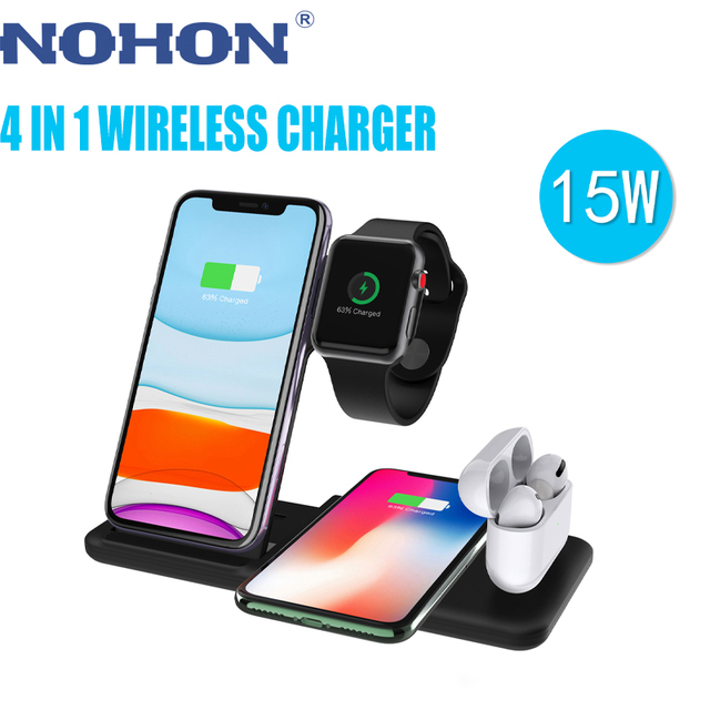 NOHON 15W 4 in 1 Qi Wireless Charger Stand For Apple Watch Airpods Foldable Fast Charging Dock Station For iPhone 12 11 X XS XR