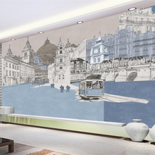 Building-Background-Wall Wallpaper Decoration Hand-Painted Custom Mural Urban Modern