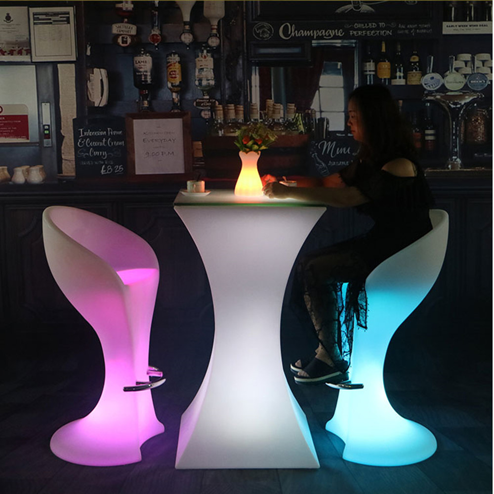 110cm Height Rechargeable LED Illuminated Cocktail Table Waterproof Glowing Led Bar Table Lighted Up Coffee Table Bar KTV Disco