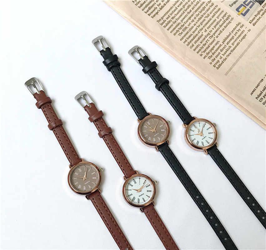 1pc retro marrom relógios femininos qualidades pequenas senhoras relógios de pulso do vintage pulseira de couro relógio 2020 marca de moda relógio feminino