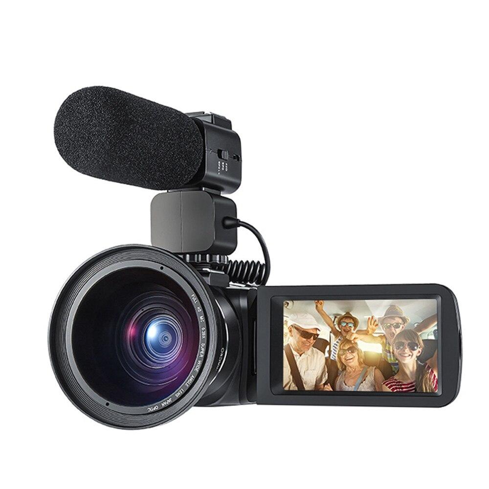 Caméras vidéo Ordro HDV-Z20 1080p 30fps FHD caméscopes avec Microphone externe et objectif grand Angle intégré WIFI à distance F808