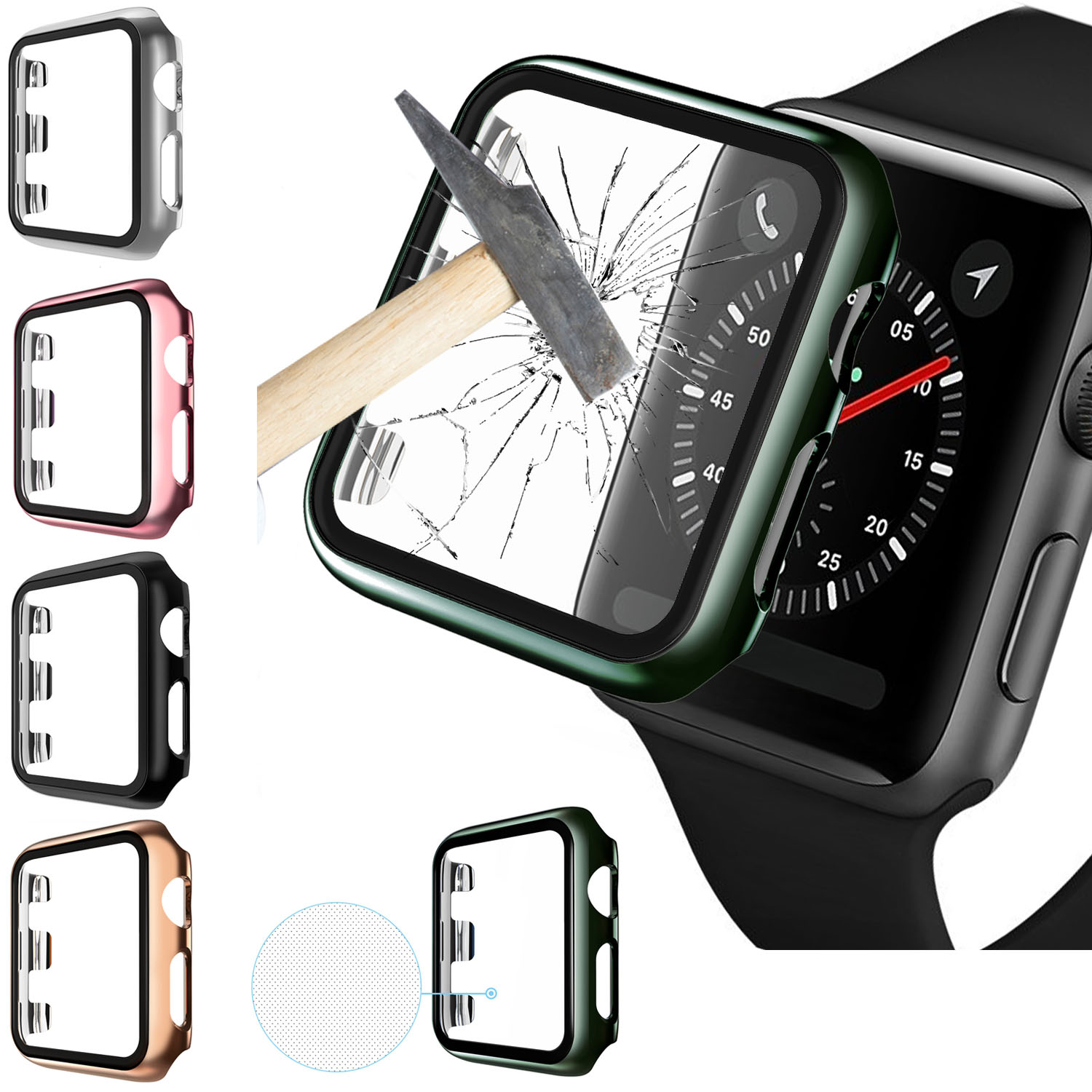 Protective Cover For <font><b>Apple</b></font> <font><b>Watch</b></font> Series 5 4 44mm 40mm Tempered Glass Film For iWatch 4 <font><b>3</b></font> 38mm <font><b>42mm</b></font> Shock Proof Protector Case image