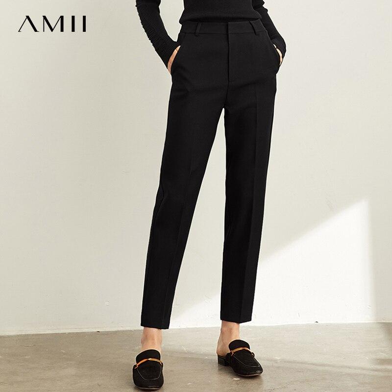 Amii primavera profesional traje de pantalones de las nuevas mujeres de cintura alta negro de ocio nueve punto pantalones tubo de humo pantalones 11940443