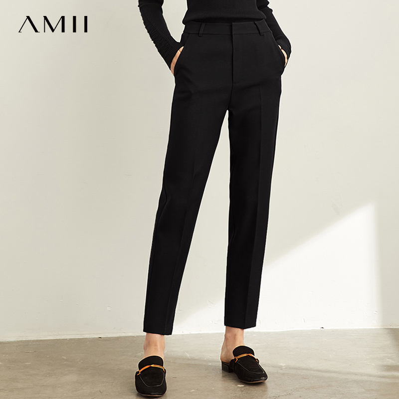 Amii Spring Professional Suit Trousers Women New High Waist  Leisure Black Nine Point Trousers Smoke Pipe Pants 11940443
