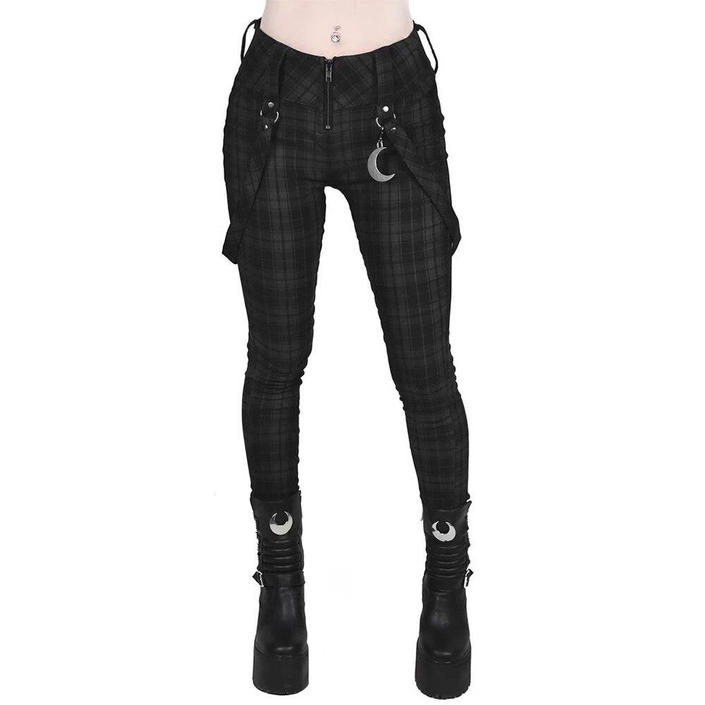 Gothic Pants Girls Plaid High Waist Skinny Trousers Harajuku Women's Full Length Pencil Pants Vintage Female Elastic Leggins D30