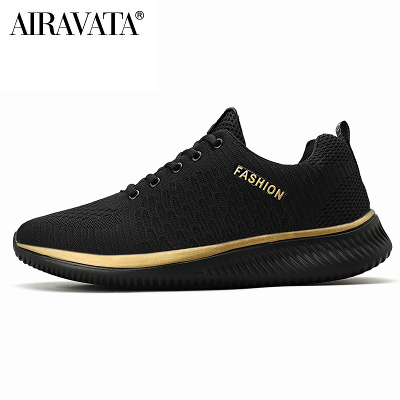 gold-black-Men Women Knit Shoes Breathable Running Walking Gym Sneakers