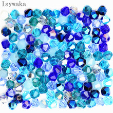 Isywaka Sale Blue Multicolor 100pcs 4mm Bicone Austria Crystal Beads charm Glass Beads Loose Spacer Bead for DIY Jewelry Making
