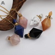 Ограненный ромб белый бирюза Агаты камень карман флаконы духов нержавеющая цепочка ожерелье для женщин ювелирные изделия подарок DSS-190AMBH