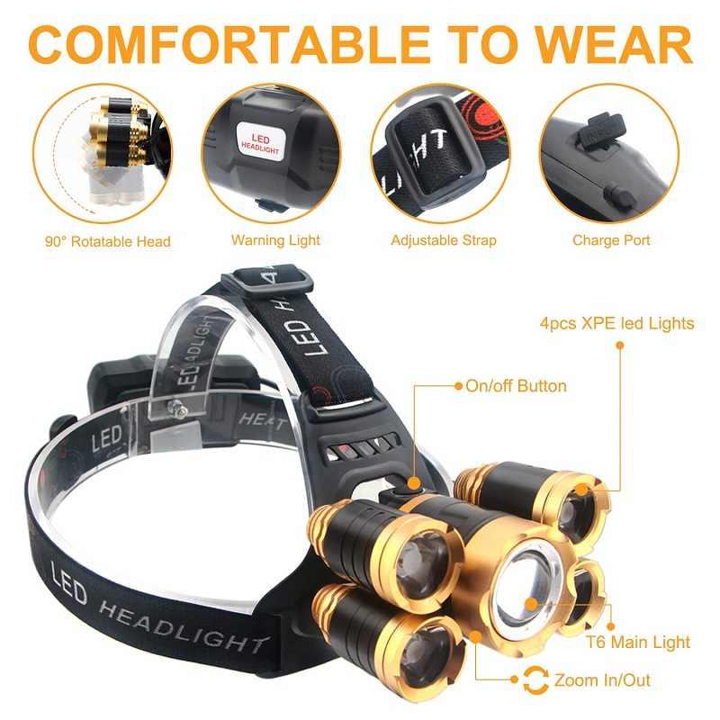 4000 lúmenes LED faro cuerpo Sensor de movimiento cabeza linterna de acampada lámpara con USB mejor para Camping, pesca