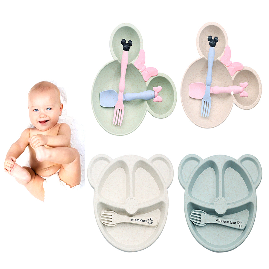 3pcs Wheat Straw Baby Bibs Cartoon Tableware Set Children's Dishes Kid Dinner Platos Baby Feeding Plate Training Bowl Spoon Fork